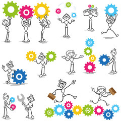Stickman, cog wheels, gears, teamwork, process, construction