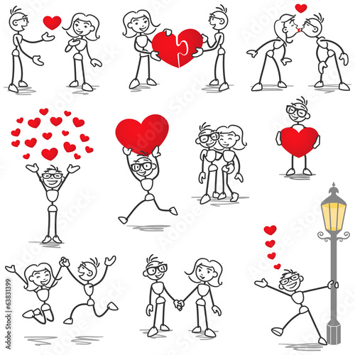 Stickman in love, hearts, holding hands, kissing
