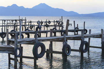 Pier on the Atitlan Lake in Guatemala at Sunrise