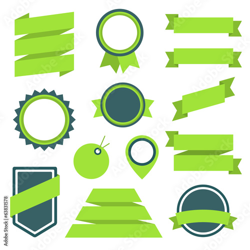Vector Stickers and Badges Set 11. Flat Style.