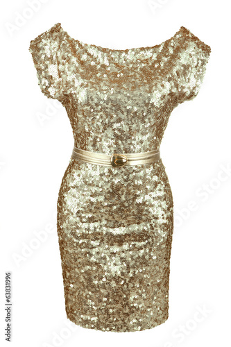 Golden sequin dress with golden belt