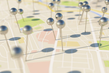 city map with Pin Pointers 3d rendering image