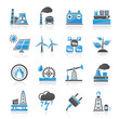 Electricity and Energy source icons - vector icon set