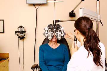 Senior lady having eye examination