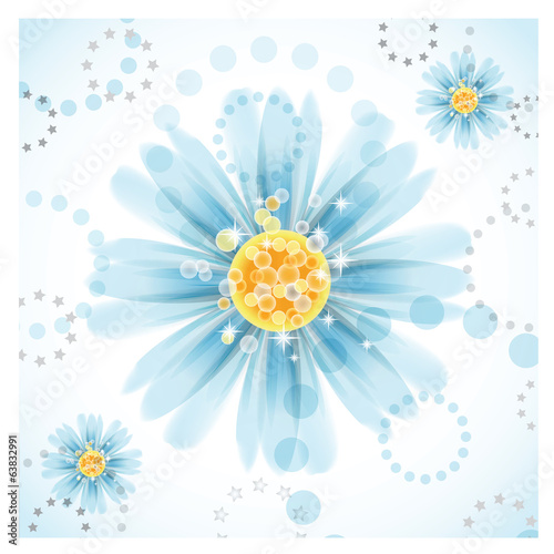 Three daisy flowers on white background.