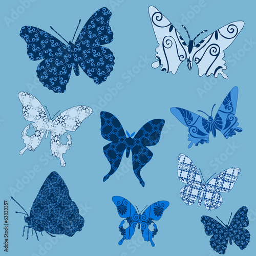 Set butterflies patterns