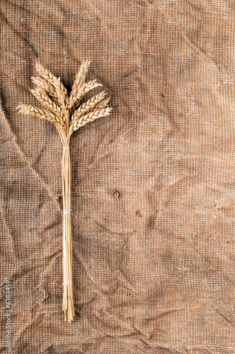 Wheat ears on a textile background. Vertical photo.
