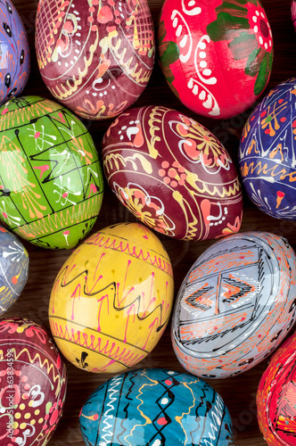 Colorful Easter eggs. Vertical photo.