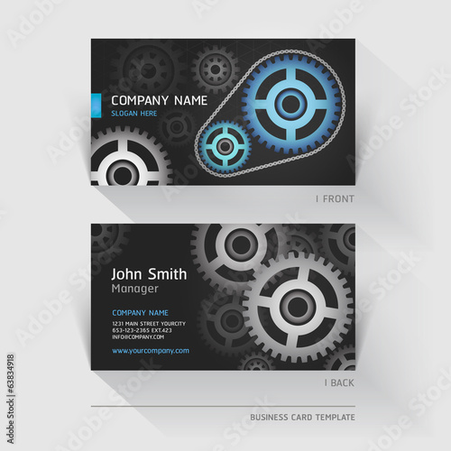 Business card abstract gear background. Vector illustration.