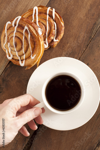 Coffee and fresh Danish for breakfast