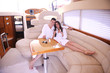 young couple on yacht