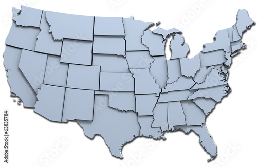 USA America states national map
