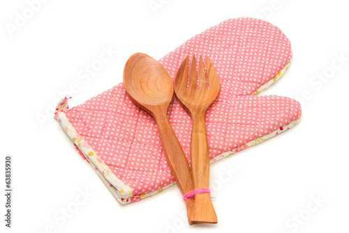 wooden spoon and fork with quilted heat protective mitten ,kitch