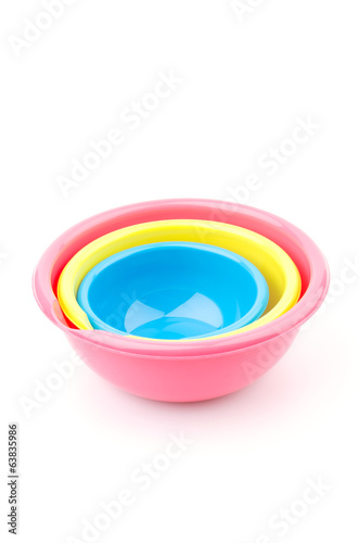 Plastic bowls isolated white background