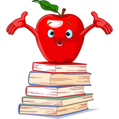 Apple character on pile of books