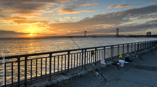 Fishing by the Verrazano Narrows Bridge At Sunset