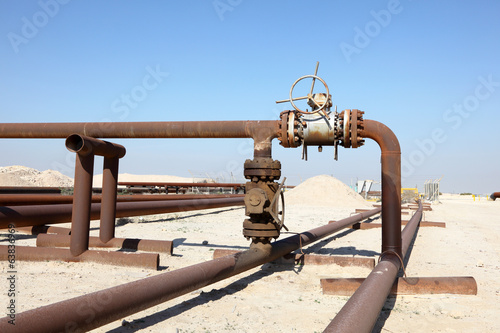 Oil pipeline in the desert of Bahrain. Middle East