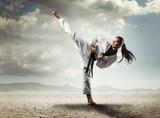 Fototapety Karate girl kick