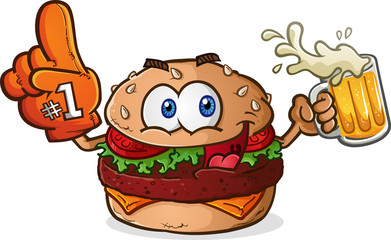 Hamburger Cheeseburger Sports Fan Cartoon Character
