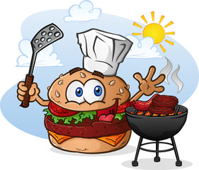 Hamburger Cheeseburger Cartoon Character Grilling Chef Hat