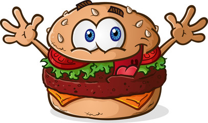 Hamburger Cheeseburger Cartoon Character Celebrating Arms Up