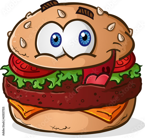 Hamburger Cheeseburger Cartoon Character