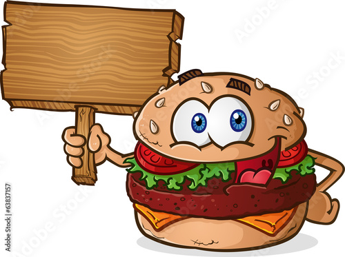Hamburger Cheeseburger Cartoon Character Holding a Wooden Sign