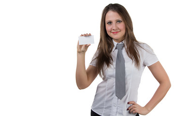 Businesswoman holding enmpty visit card