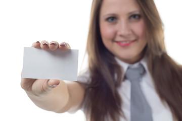 Businesswoman holding enmpty visit card