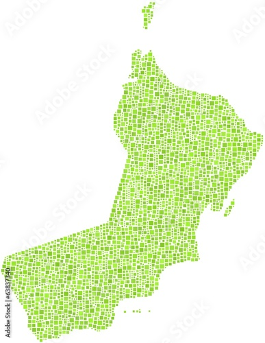 Sultanate of Oman in a mosaic of green squares