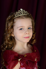 portrait of a beautiful girl in a red dress and crown
