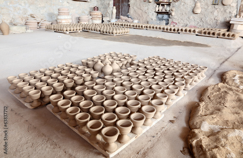 Hand made amphoras in a pottery. Bahrain, Middle East