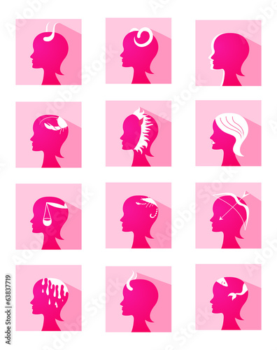 Icons zodiac female profiles