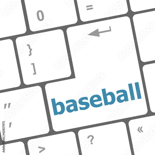 baseball word on keyboard key, notebook computer