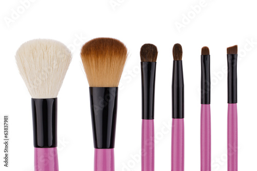 Set of brushes for makeup isolated on white background
