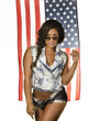 Beautiful young woman\ denim by American flag