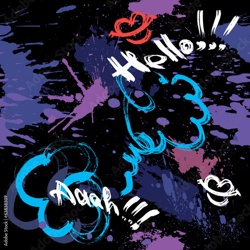 Seamless pattern with blots, ink splashes and hand written text