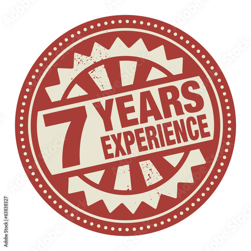Abstract stamp or label with the text 7 years experience written