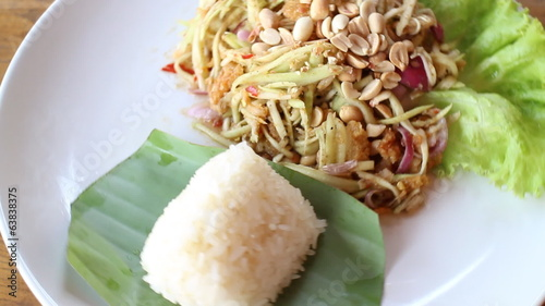 Spicy Green Mango Salad With Sticky Rice, stock footage