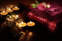Serviette et aromatiques bougies