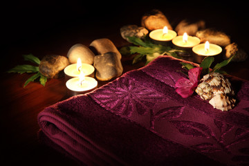 aromatic candles and other spa objects