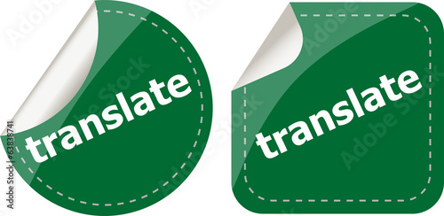 translate stickers set on white, icon button isolated on white