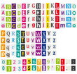 Colorful alphabet with letters cut from magazines.