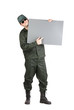 Man in workwear holds paper sheet.