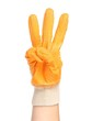 Hand in rubber glove shows three.