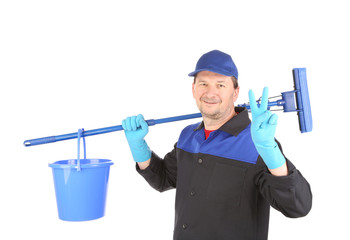Cleaner with mop and bucket.
