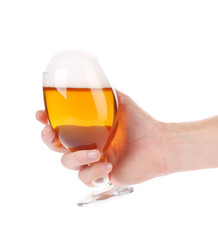 Hand with a perfect beer glass.