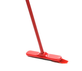 Red mop isolated.