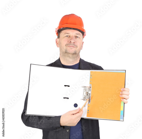 Man in red helmet shows opened paper folder.