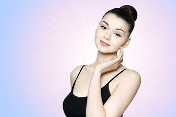 Beautiful young woman - skin care portrait